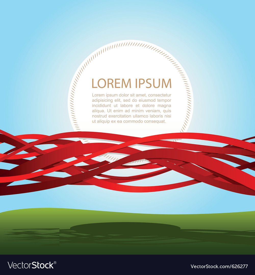 Banner in red ribbons vector | Price: 1 Credit (USD $1)