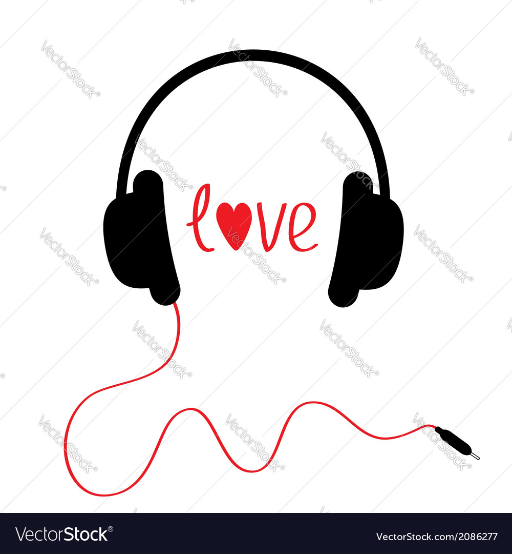 Black headphones with red cord isolated love card vector | Price: 1 Credit (USD $1)
