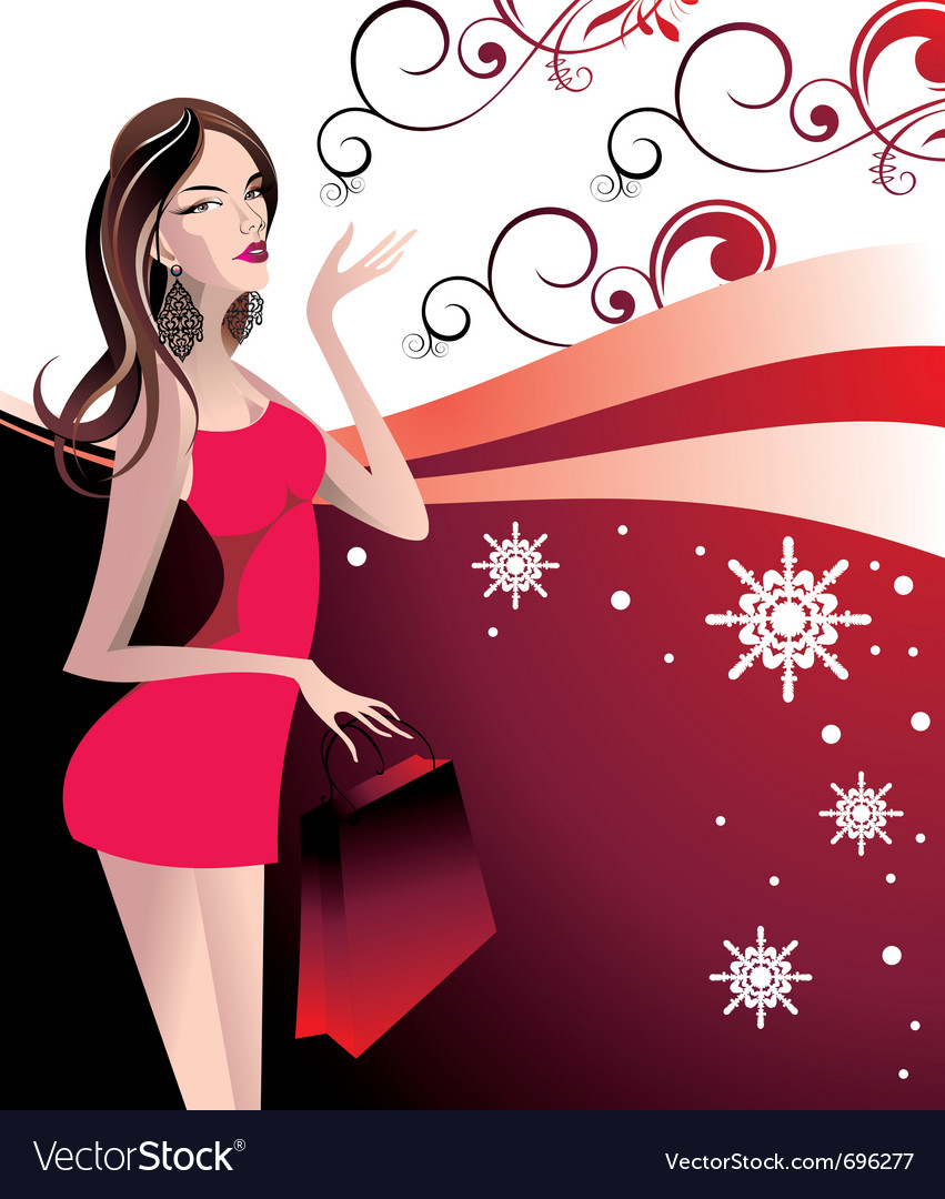 Christmas girl vector | Price: 3 Credit (USD $3)