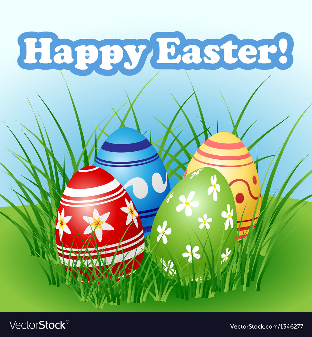 Easter egg set in grass vector | Price: 1 Credit (USD $1)