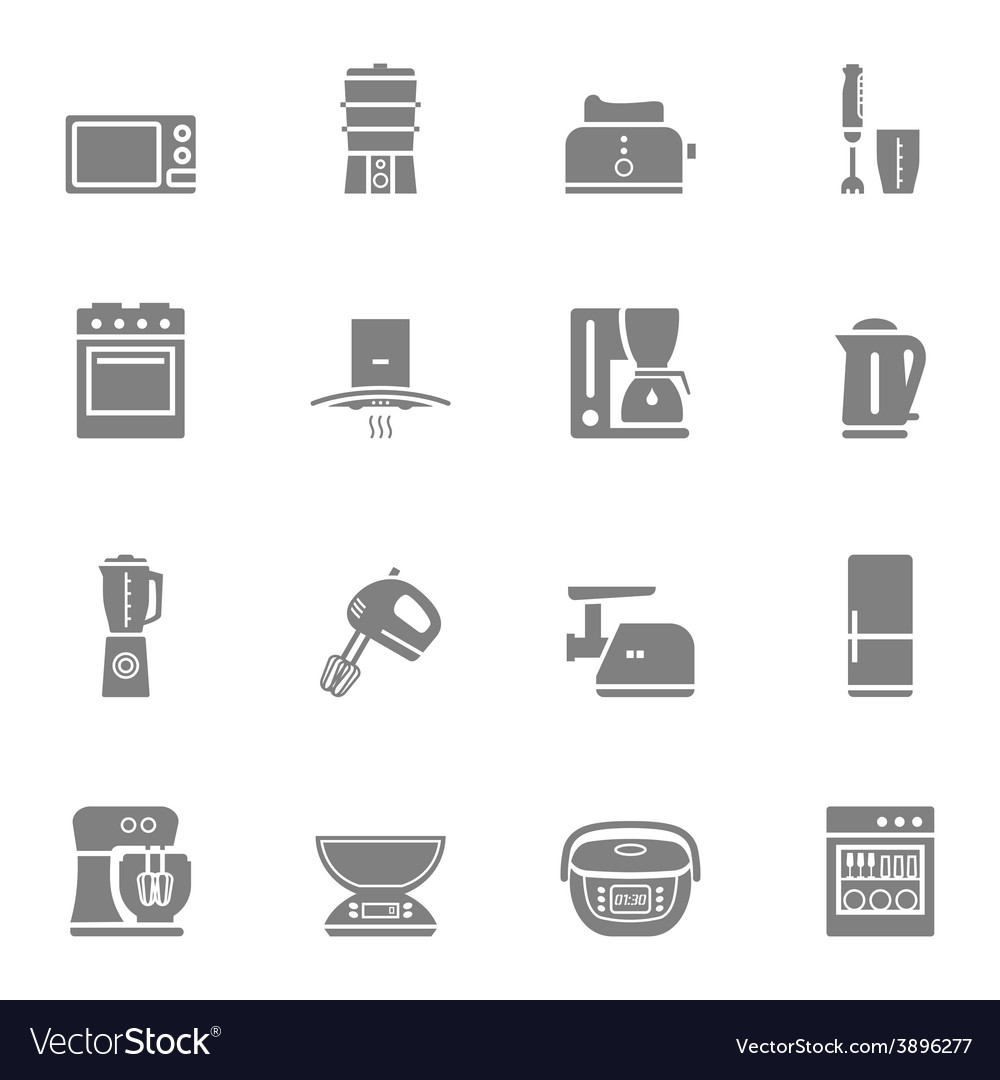 Kitchen appliances silhouette icon set vector | Price: 1 Credit (USD $1)