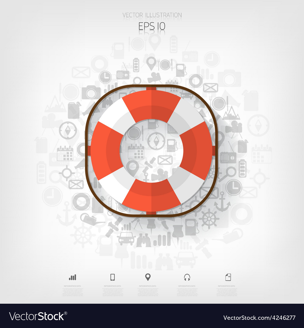Lifebuoy web iconbackground wit application vector | Price: 1 Credit (USD $1)