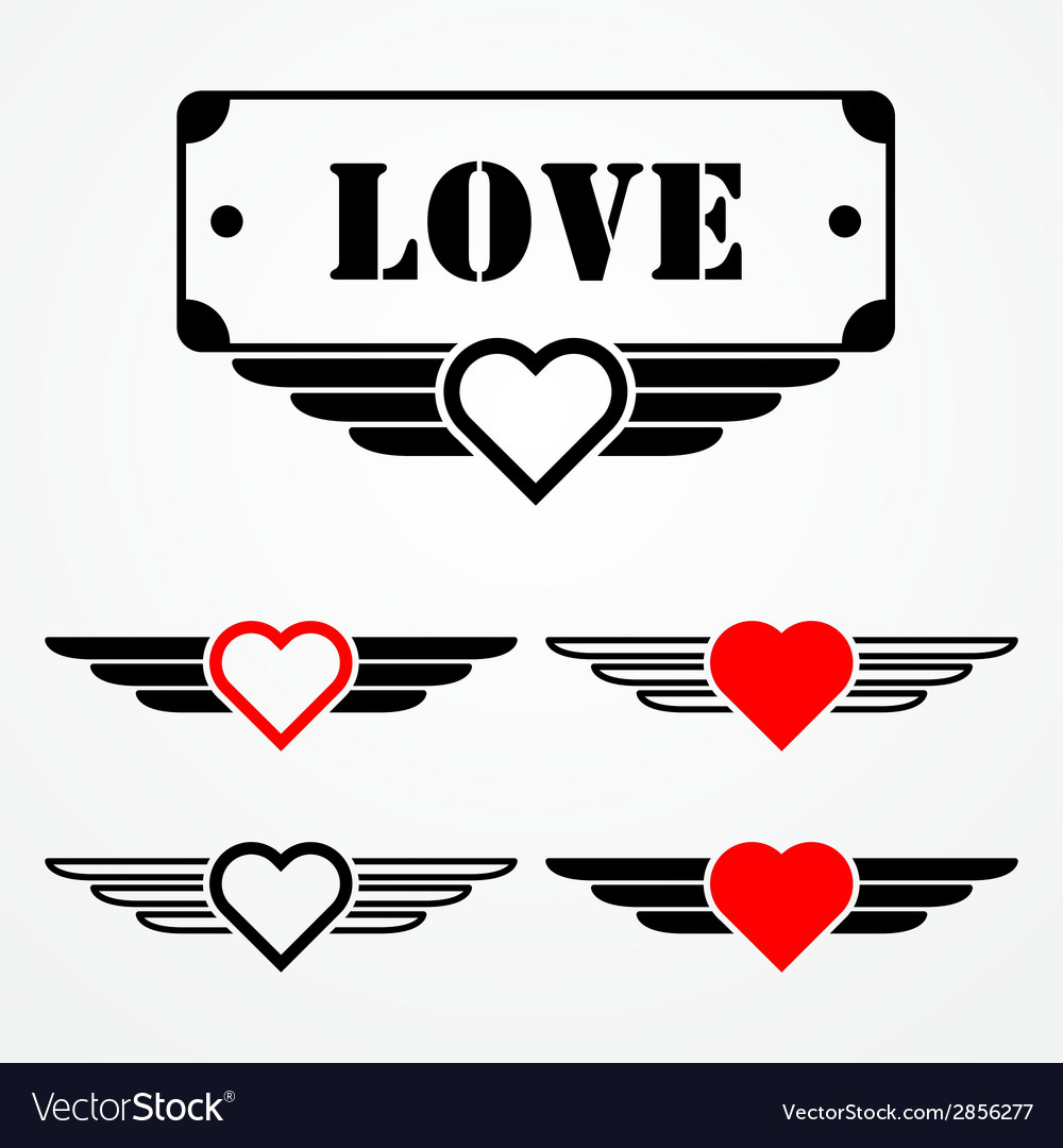 Military style love emblems vector | Price: 1 Credit (USD $1)