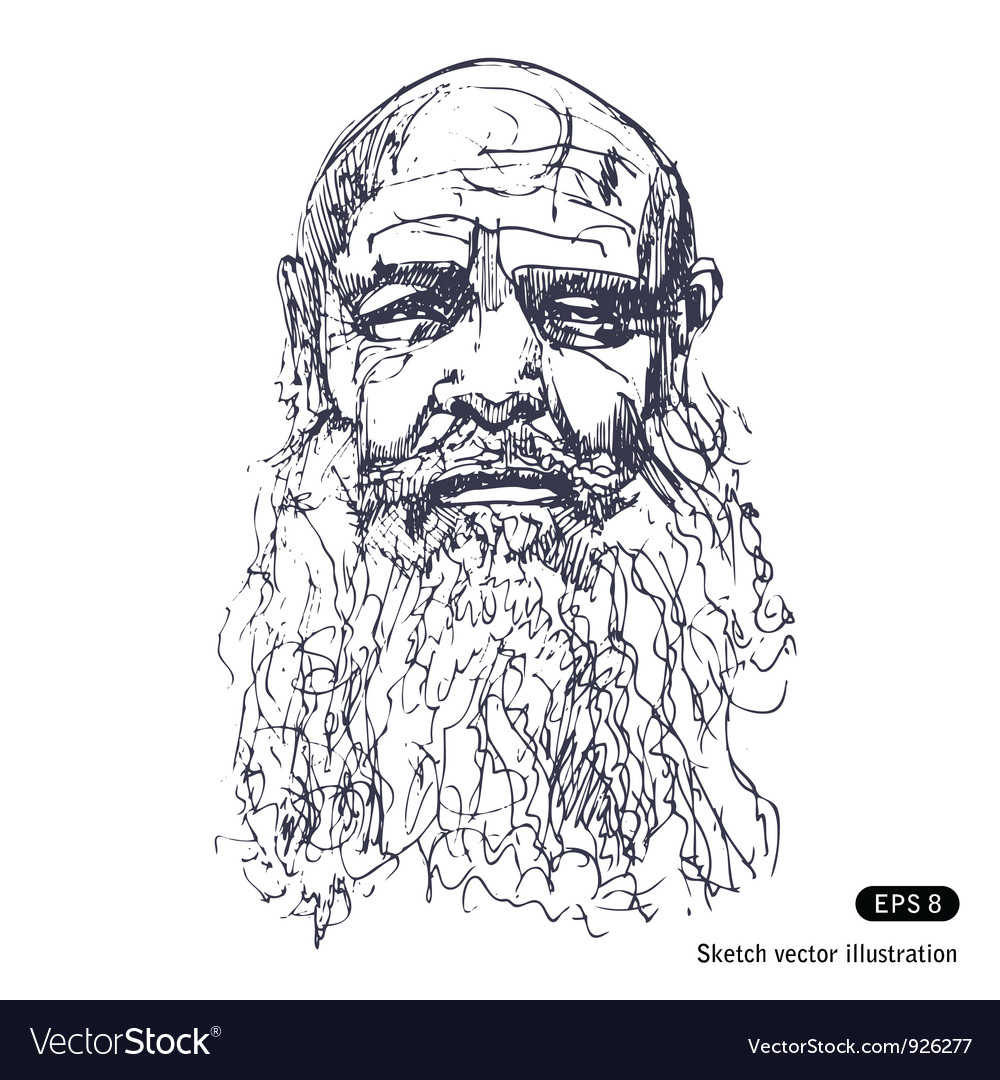 Old man with a beard vector | Price: 1 Credit (USD $1)