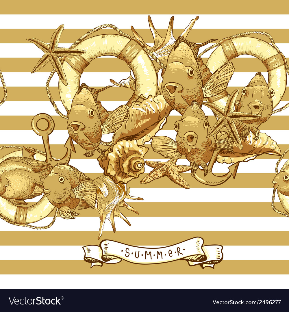 Sea card with anchor lifeline and fish vector | Price: 1 Credit (USD $1)