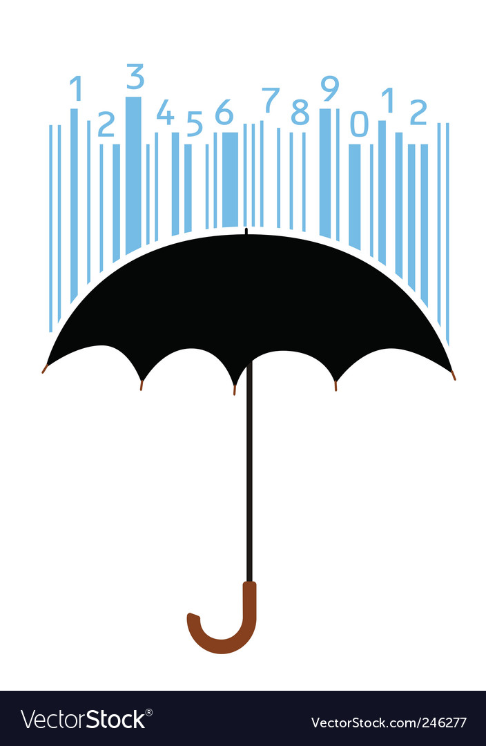 Umbrella and bar code vector | Price: 1 Credit (USD $1)