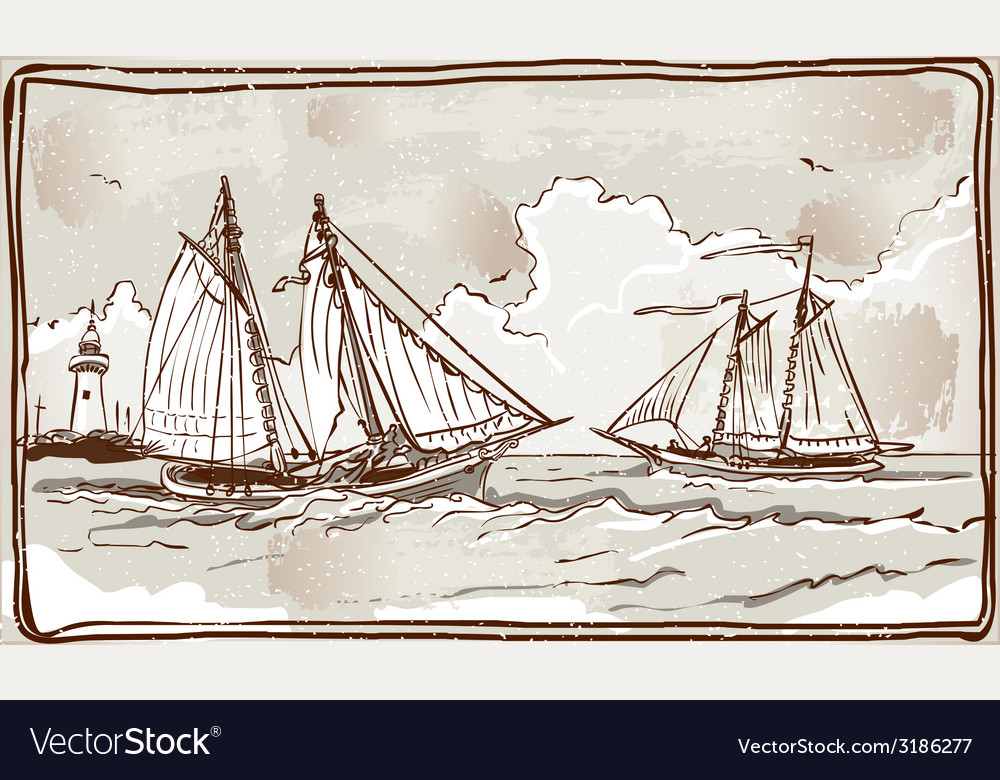 Vintage view of sailing ships on the sea vector   Price: 3 Credit (USD $3)