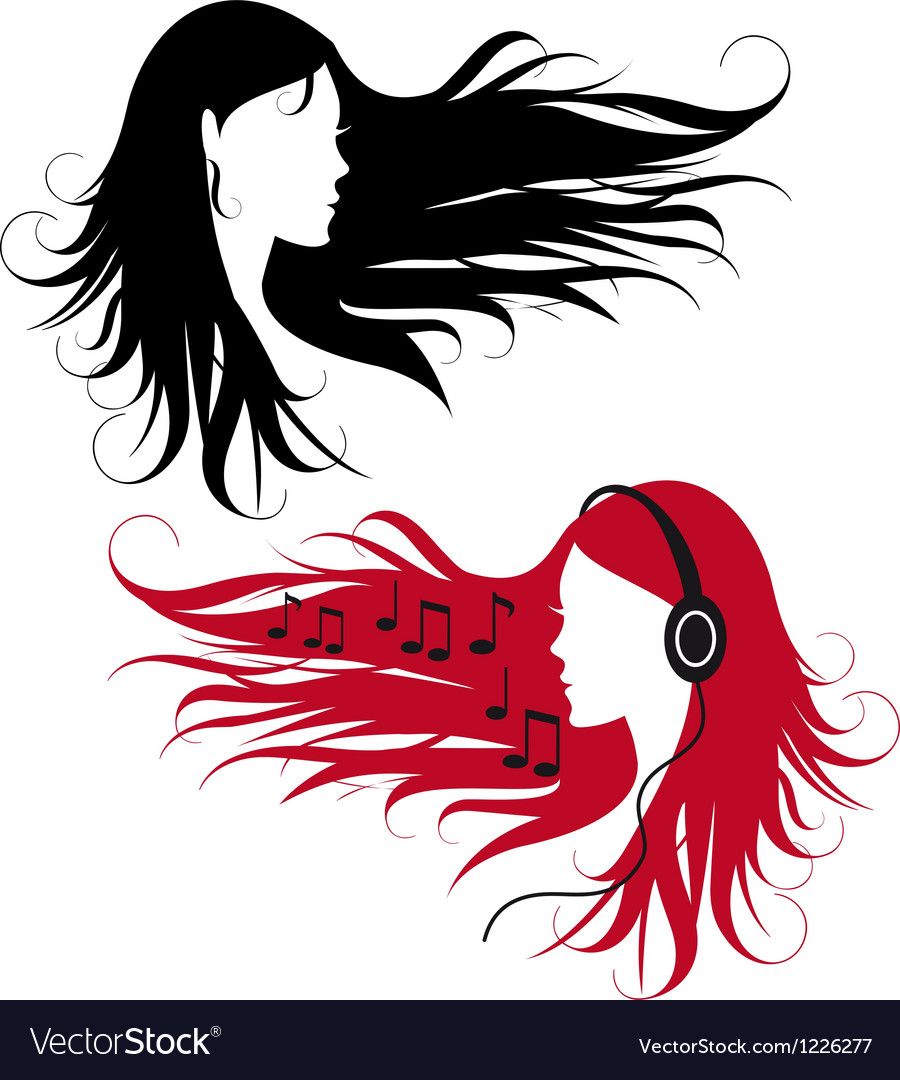 Woman with curly long hair vector | Price: 1 Credit (USD $1)