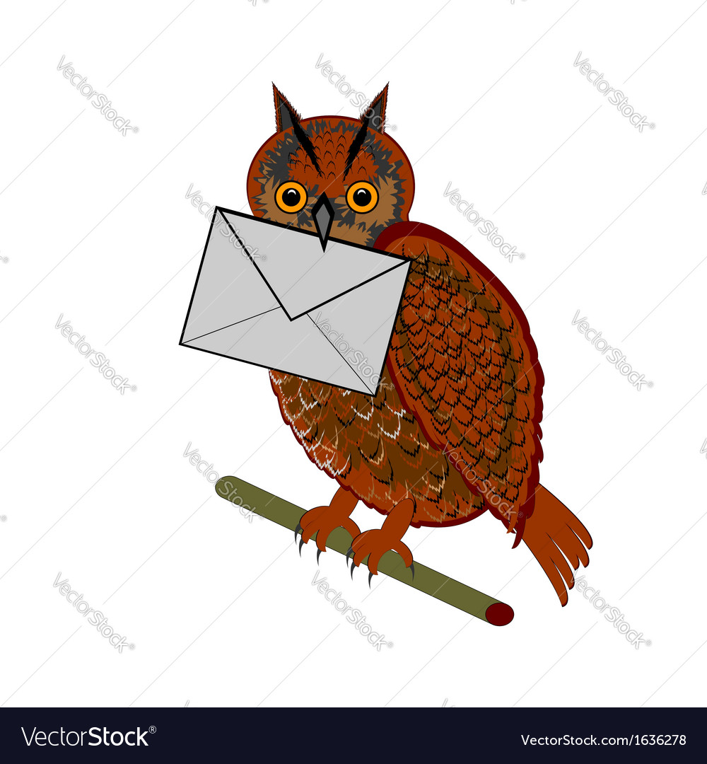 A funny owl with a letter in his beak vector | Price: 1 Credit (USD $1)