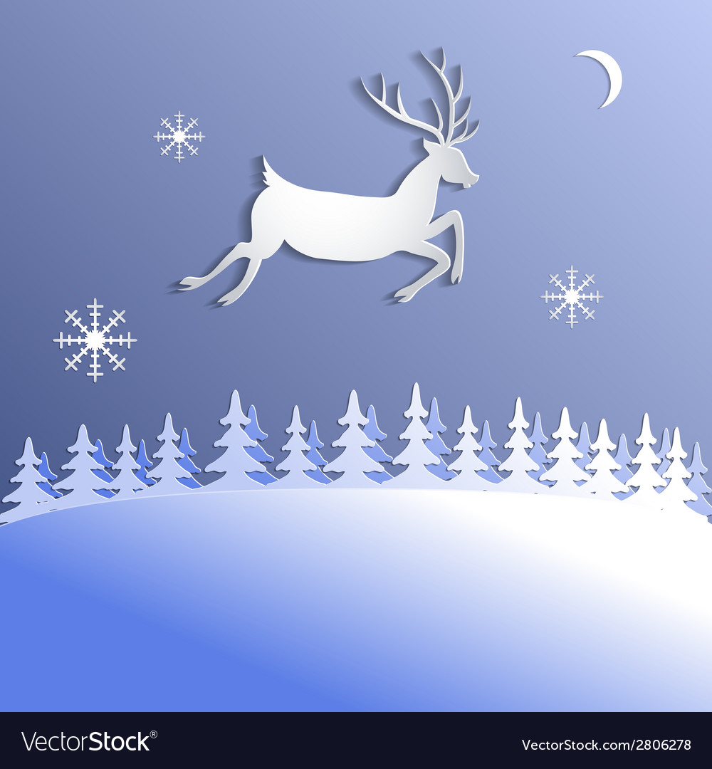 Abstract background with paper cut deer vector | Price: 1 Credit (USD $1)
