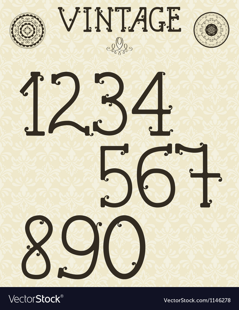 Retro self made numbers vector | Price: 1 Credit (USD $1)