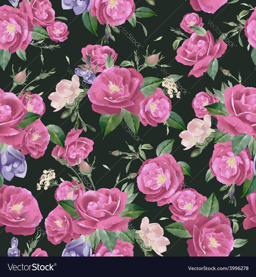Seamless floral pattern with roses and freesia vector | Price: 1 Credit (USD $1)
