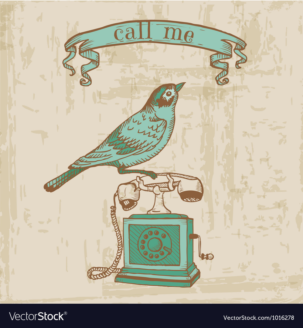 Vintage telephone with a bird vector | Price: 1 Credit (USD $1)