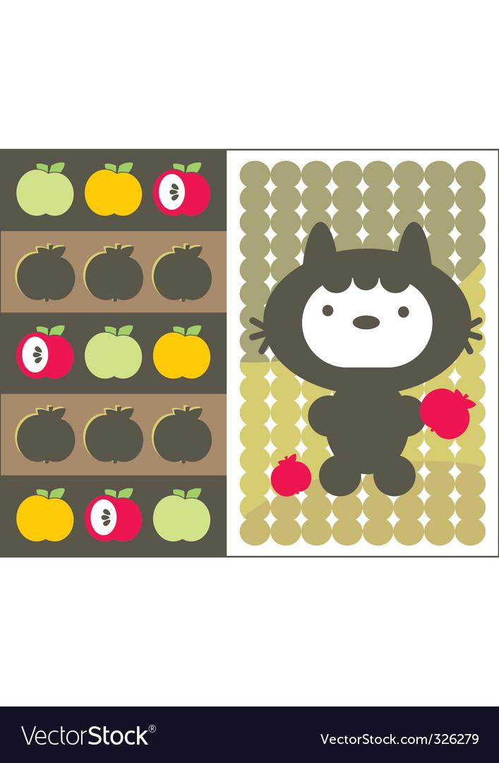 Apple cat vector | Price: 1 Credit (USD $1)
