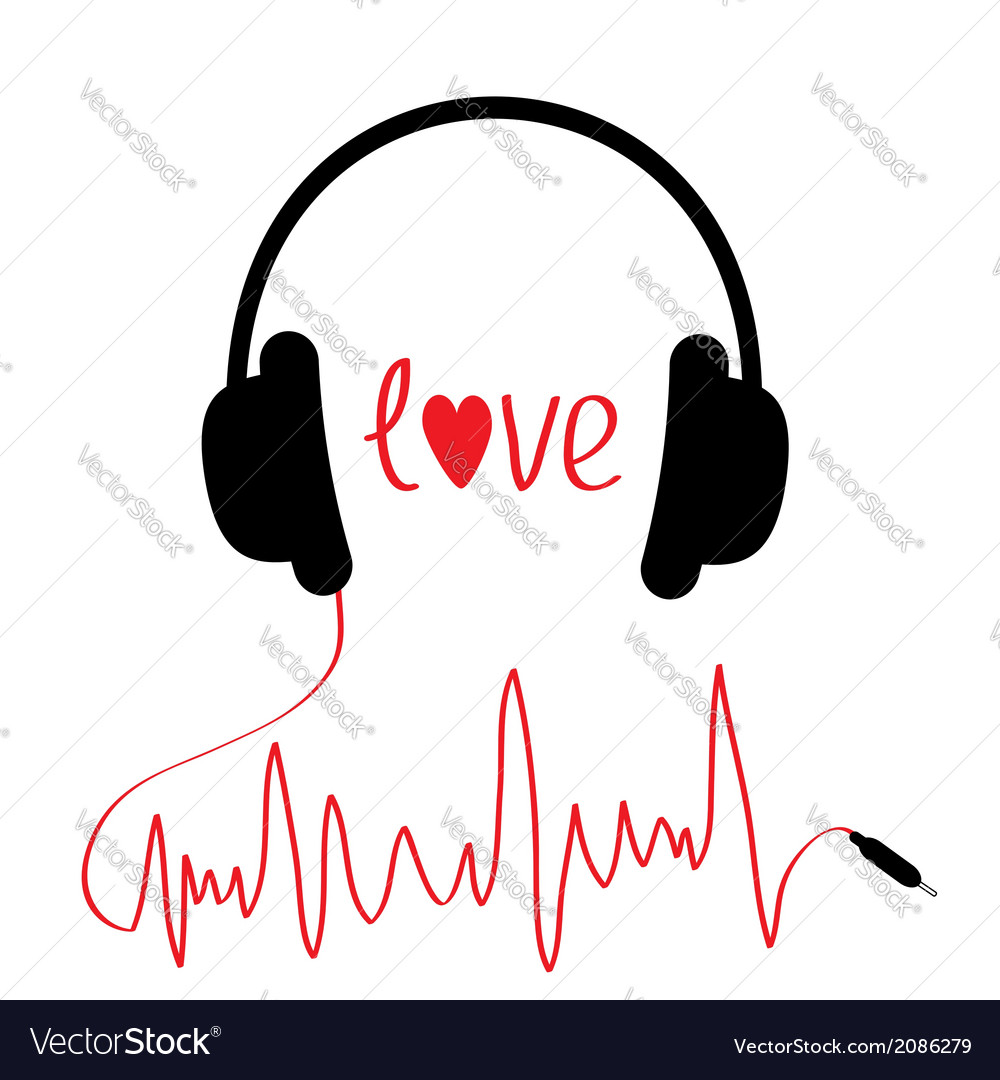 Black headphones with cord in shape of cardiogram vector | Price: 1 Credit (USD $1)
