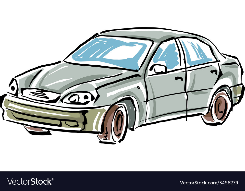 Colored hand drawn car on white background of a se vector | Price: 1 Credit (USD $1)