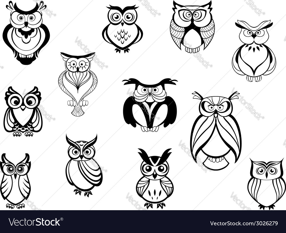 Cute owls and owlets vector | Price: 1 Credit (USD $1)