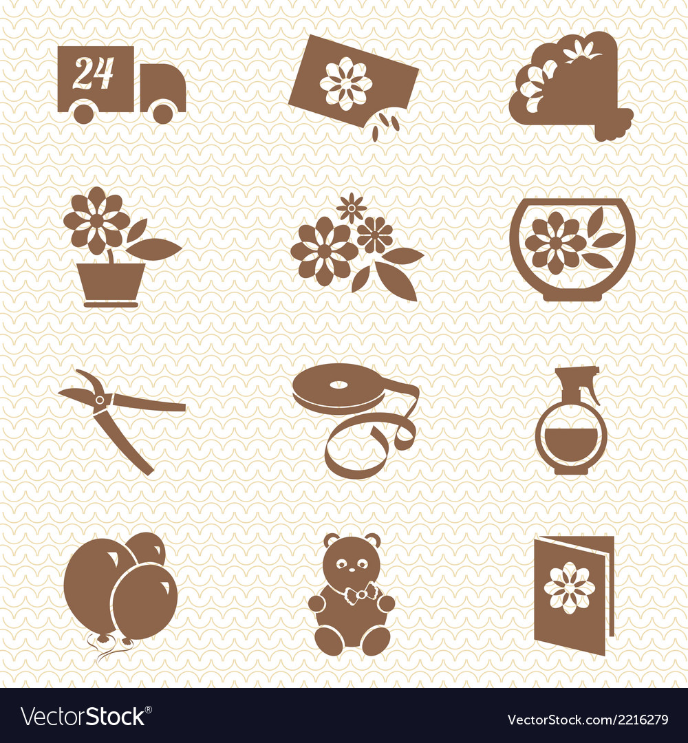 Flower shop ikons vector | Price: 1 Credit (USD $1)