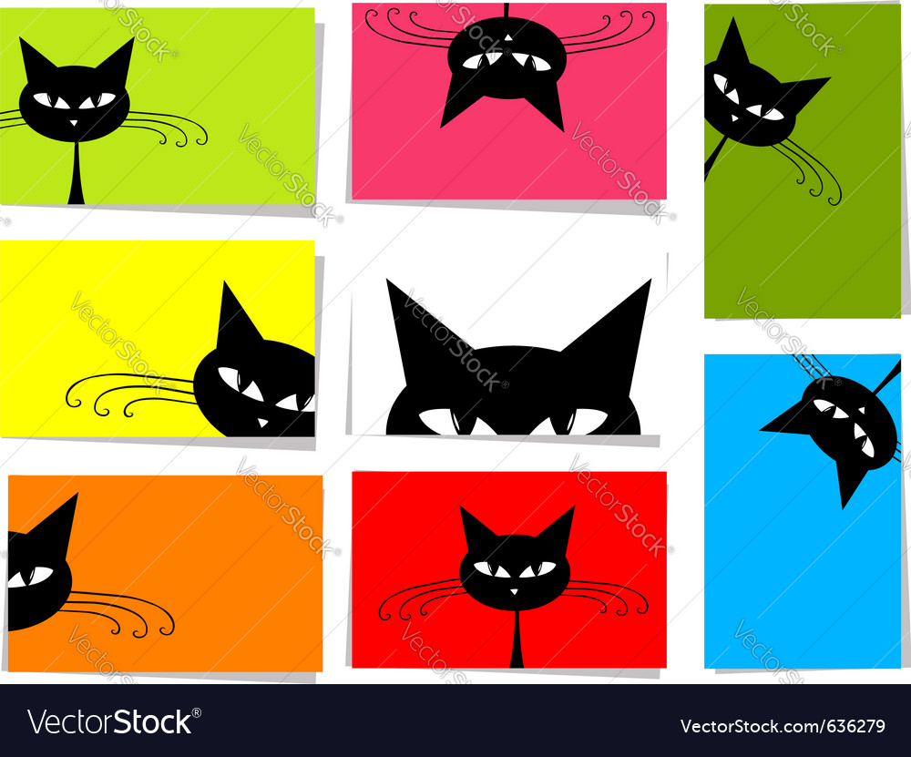 Funny cats card vector