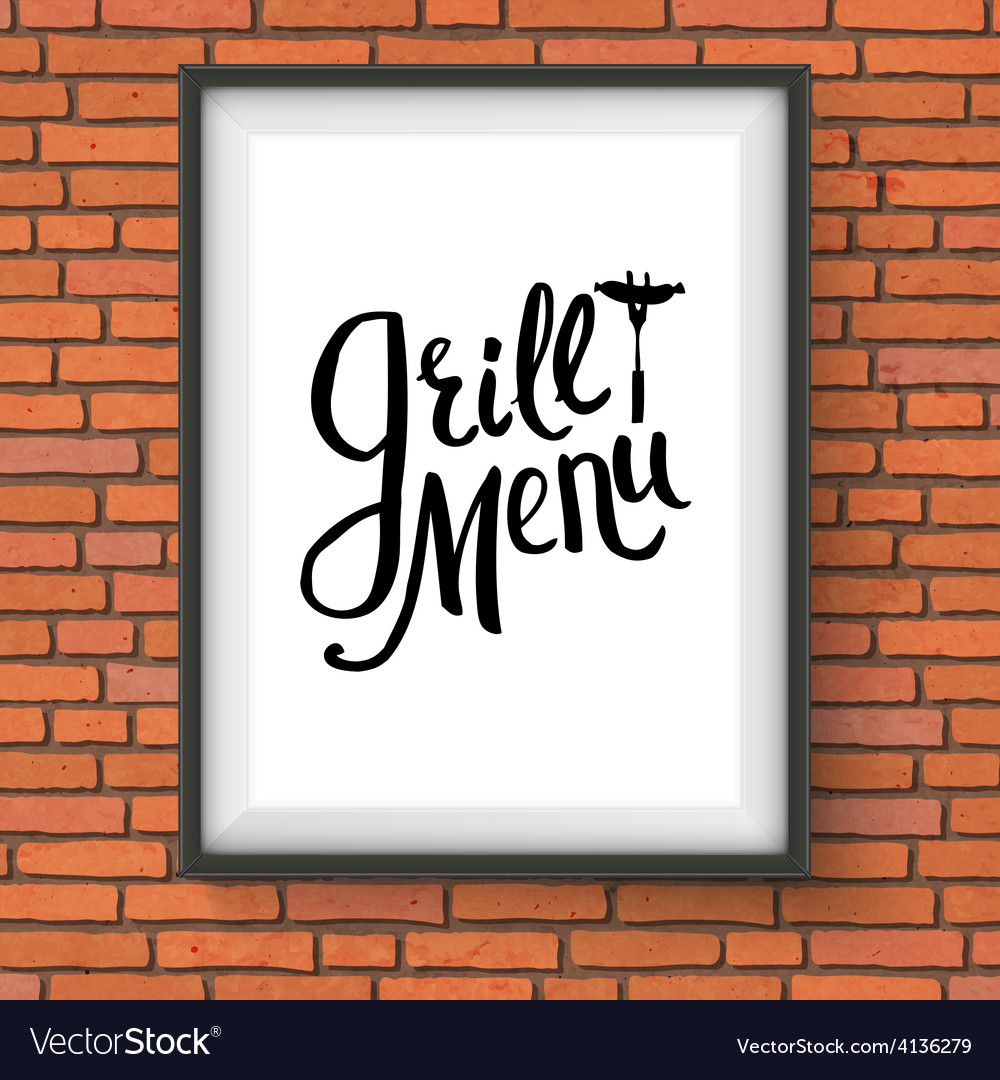 Grill restaurant menu sign hanging on brick wall vector   Price: 1 Credit (USD $1)