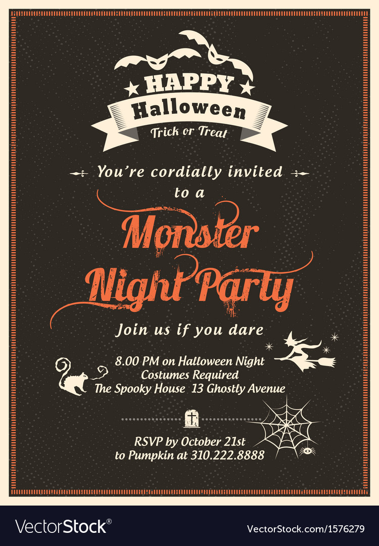 Halloween party invitation template vector | Price: 1 Credit (USD $1)