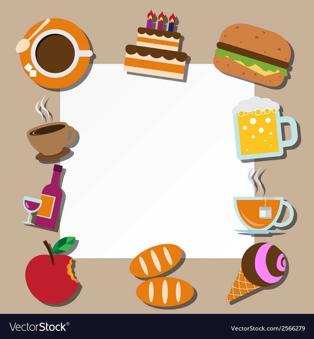 Paper note and food icons set vector | Price: 1 Credit (USD $1)
