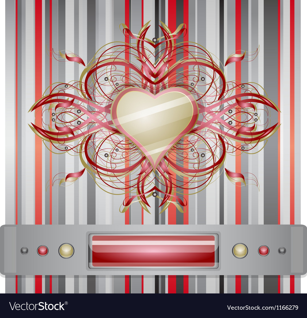 Red - gray background with heart vector | Price: 1 Credit (USD $1)