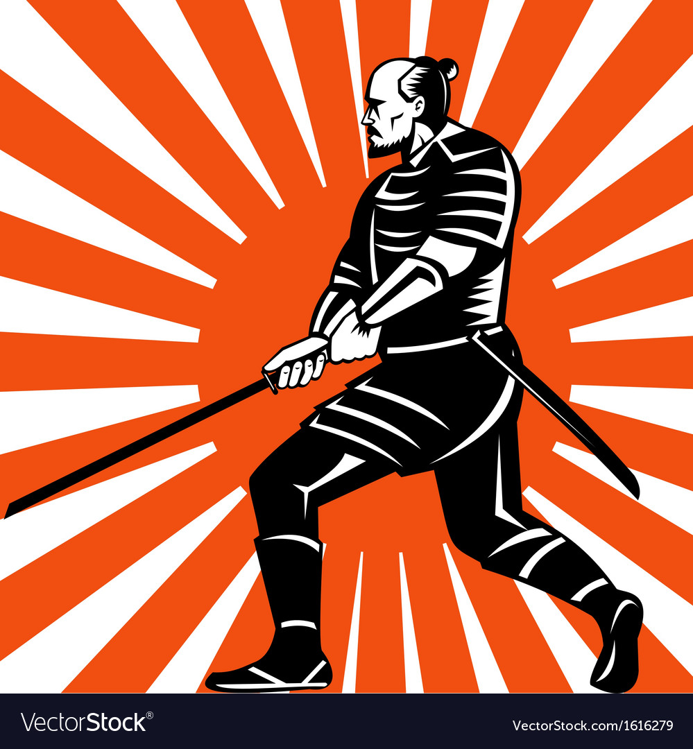 Samurai warrior with sword in fighting stance vector | Price: 1 Credit (USD $1)