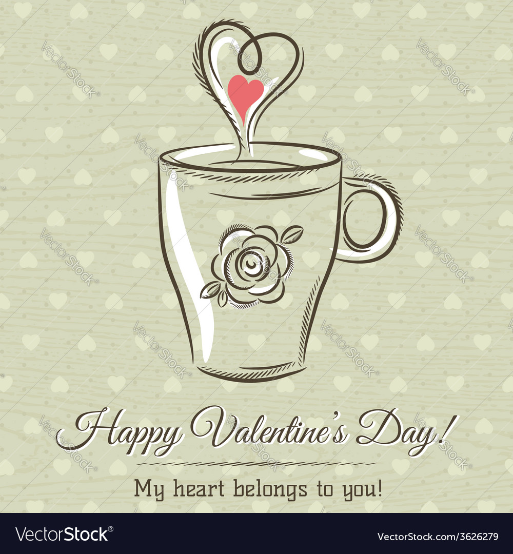 Valentine card with cup of hot drink vector | Price: 1 Credit (USD $1)