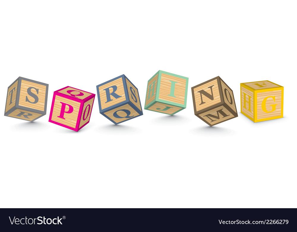 Word spring written with alphabet blocks vector   Price: 1 Credit (USD $1)