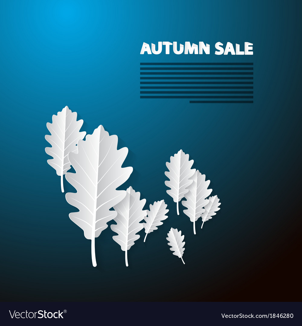 Autumn sale blue background with white oak paper vector | Price: 1 Credit (USD $1)
