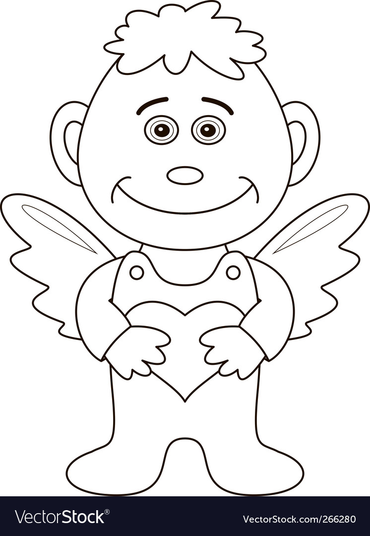 Boy angel with heart contours vector | Price: 1 Credit (USD $1)