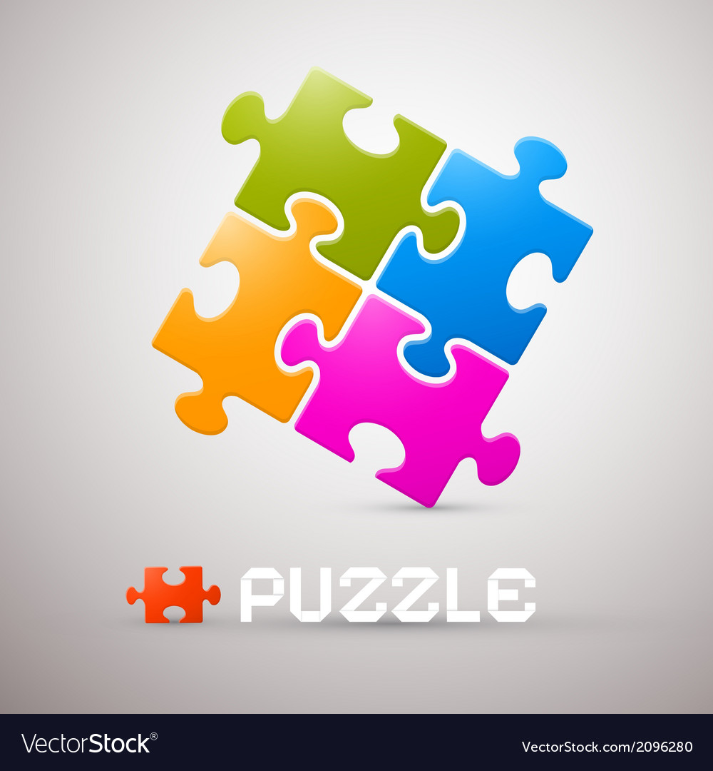 Colorful puzzle on grey background vector | Price: 1 Credit (USD $1)