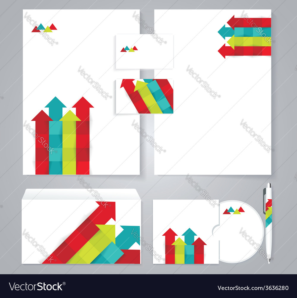 Corporate identity template with color arrows vector | Price: 1 Credit (USD $1)