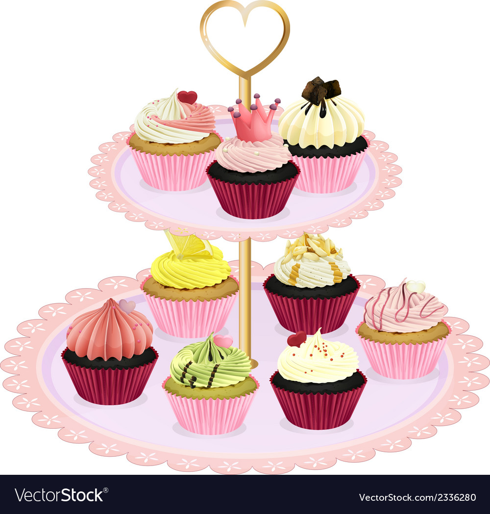 Cupcakes at the tray vector | Price: 1 Credit (USD $1)