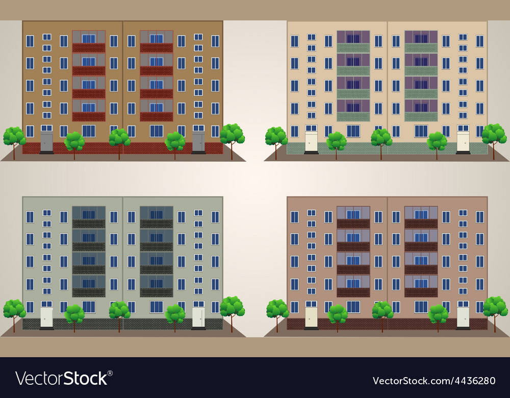 Front building with trees vector | Price: 1 Credit (USD $1)