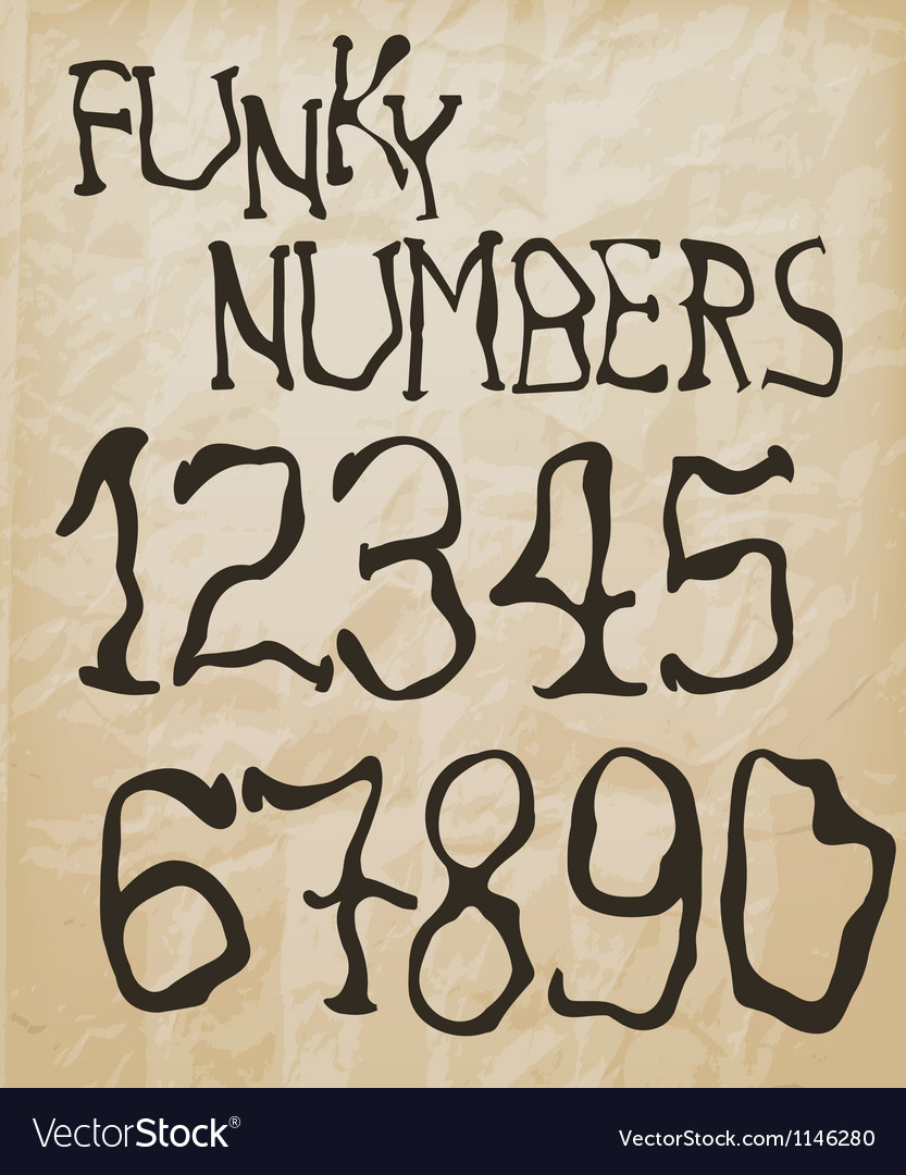 Funky retro numbers vector | Price: 1 Credit (USD $1)