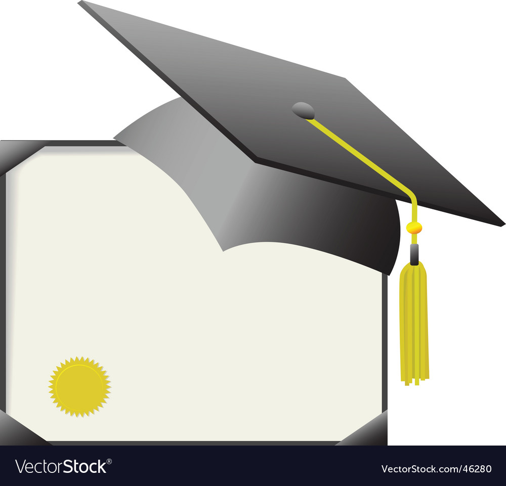 Mortarboard graduation cap and diploma vector