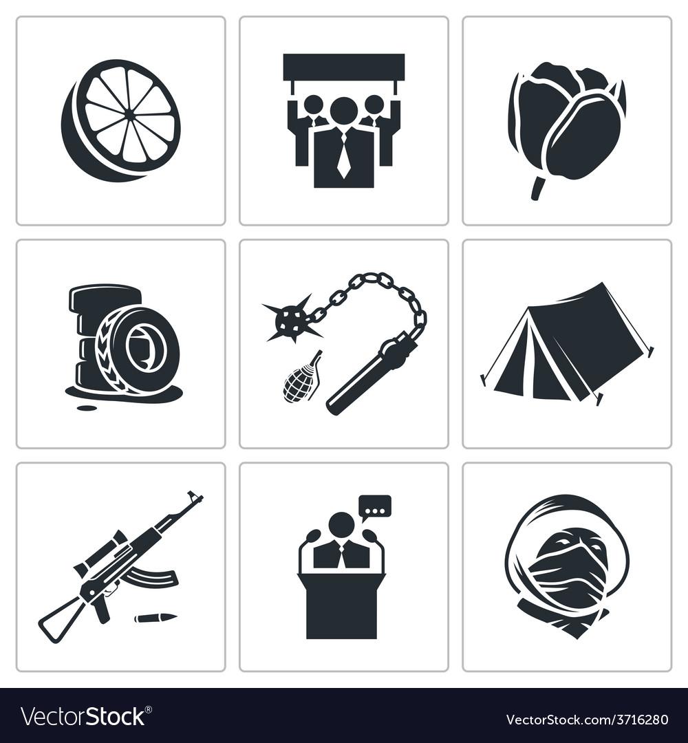 Orange revolution icons set vector | Price: 1 Credit (USD $1)