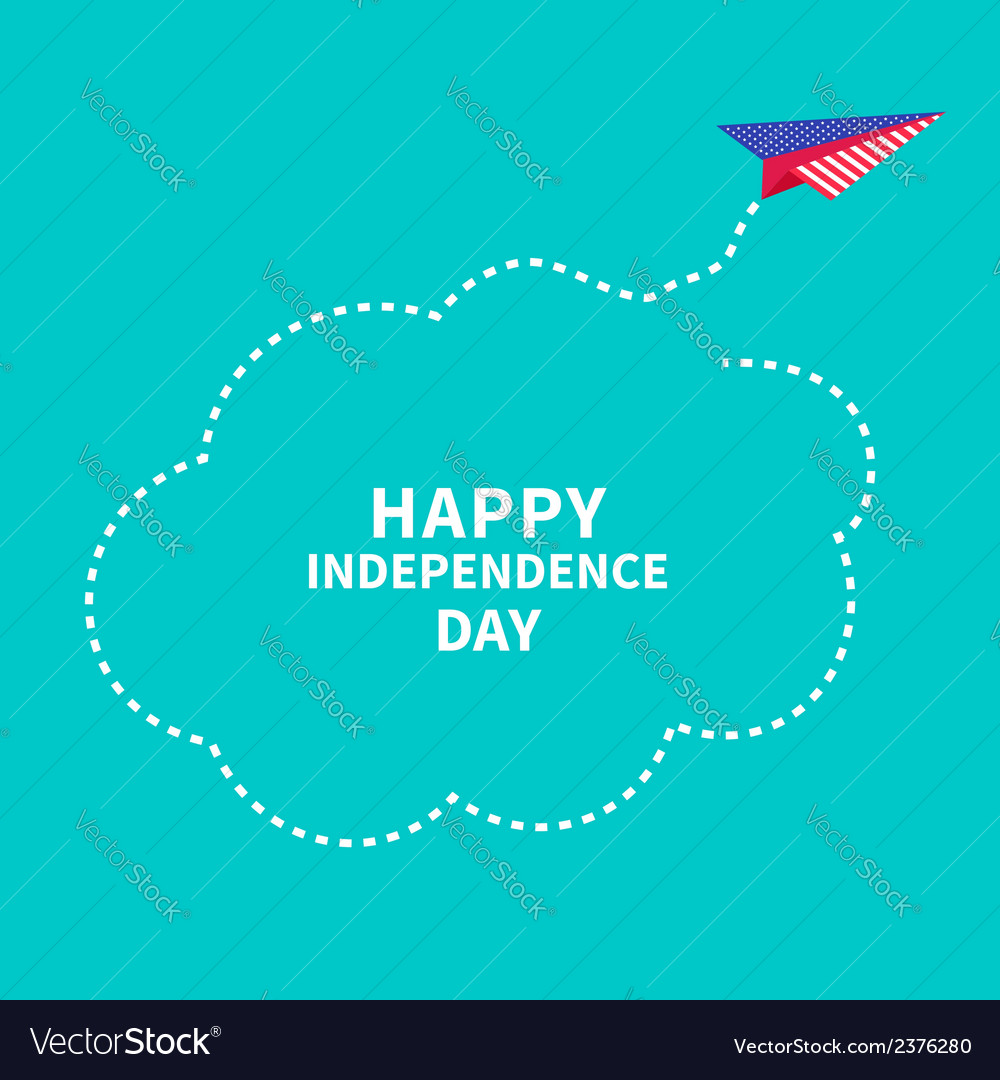 Paper plane dash line cloud independence day vector | Price: 1 Credit (USD $1)