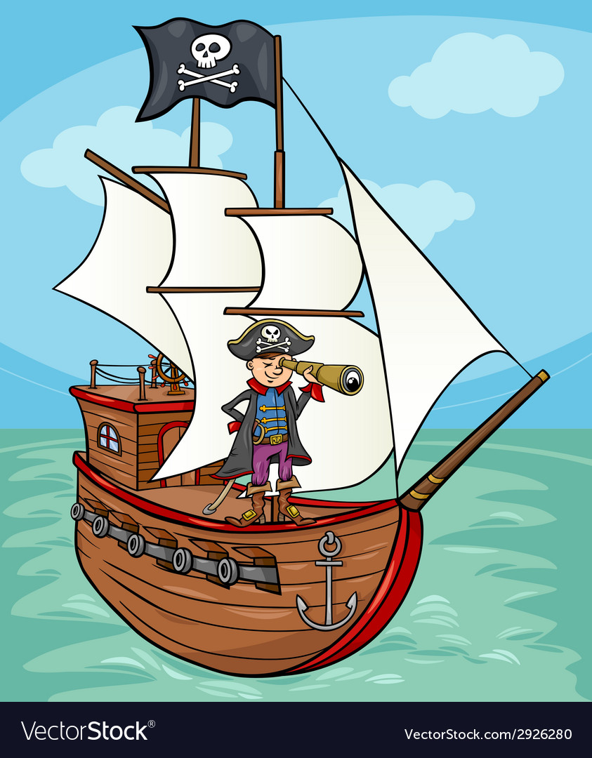 Pirate on ship cartoon vector | Price: 1 Credit (USD $1)