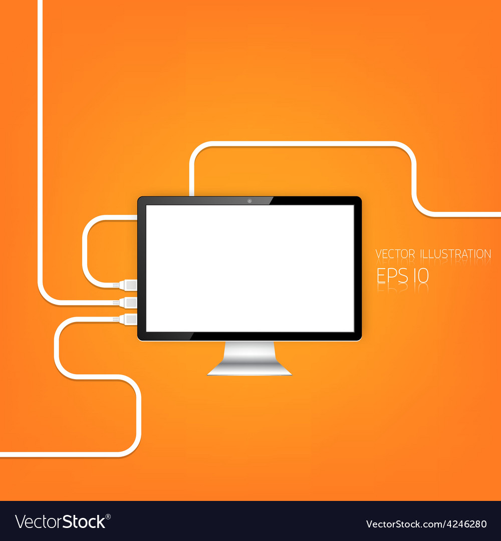 Realistic detalized flat monitor usb connection vector | Price: 1 Credit (USD $1)