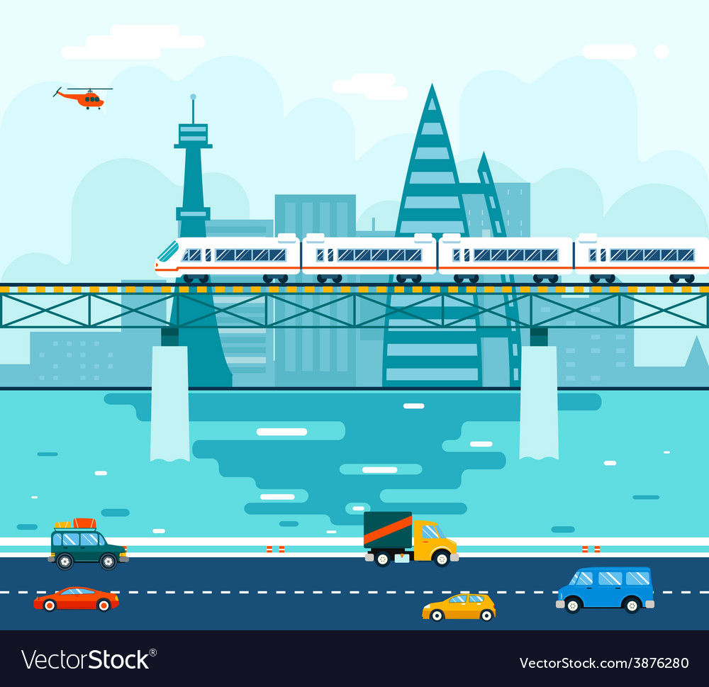 Road cars wagons on bridge over river transport vector | Price: 1 Credit (USD $1)