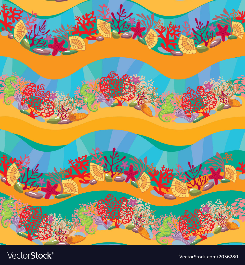 Seamless pattern with coral reef and marine life vector | Price: 1 Credit (USD $1)