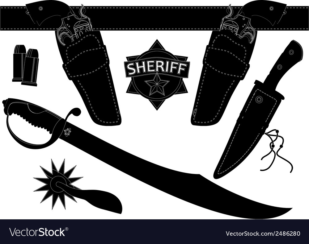 Set of sheriffs weapons and accessories vector | Price: 1 Credit (USD $1)