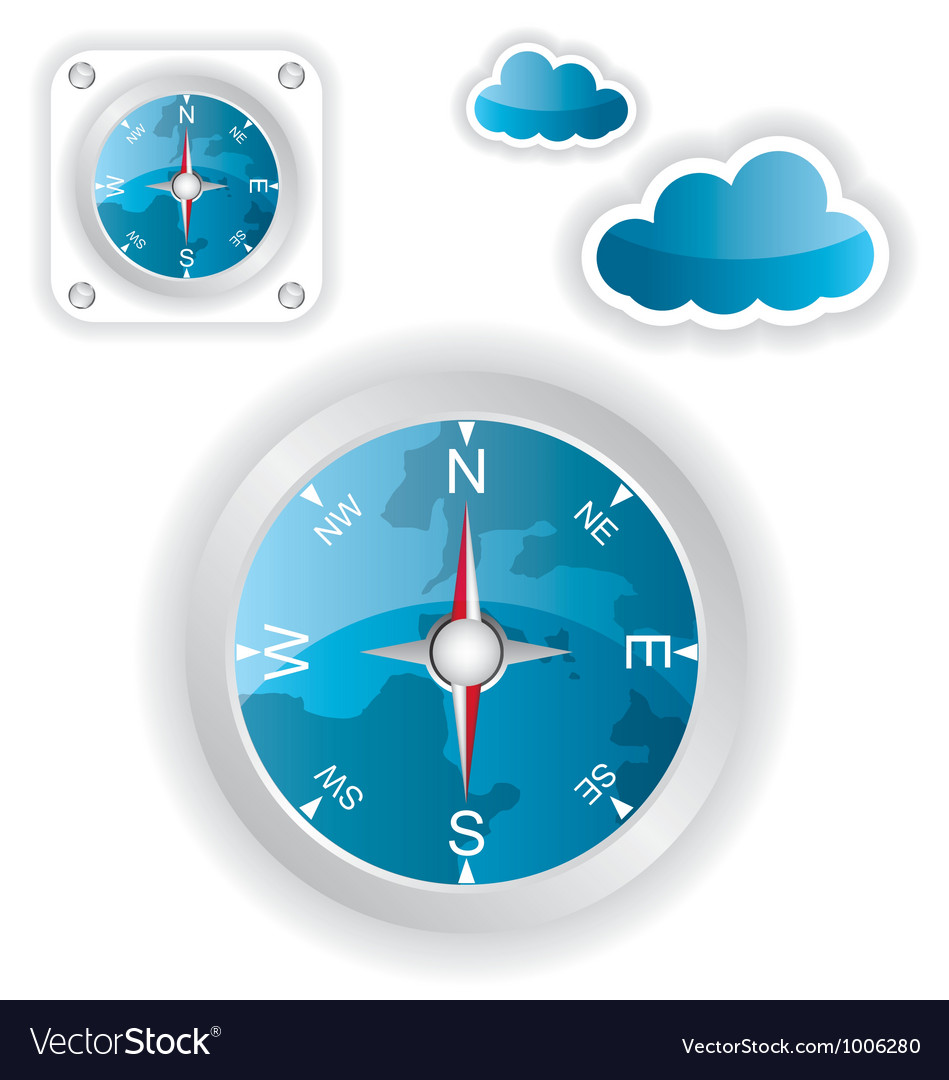 White compass and cloud icons vector | Price: 1 Credit (USD $1)