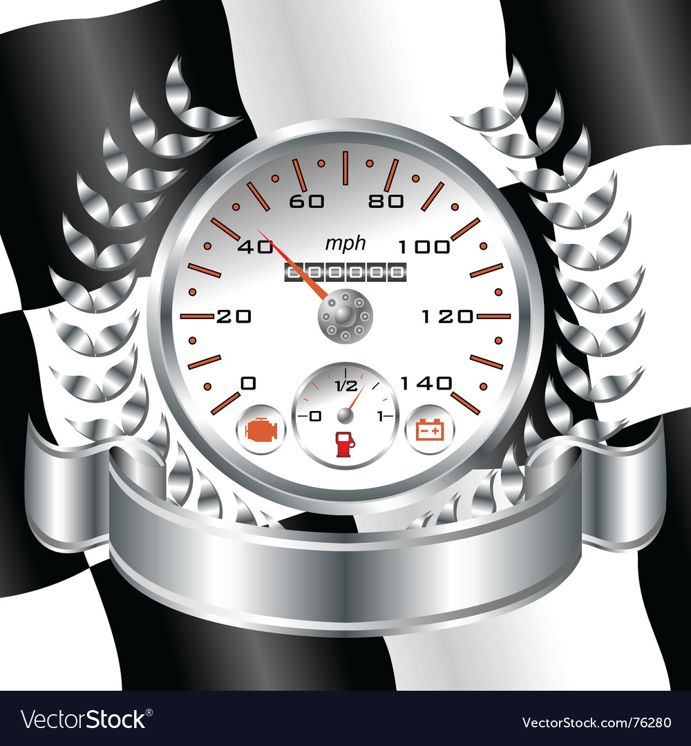 White speedometer racing shield vector | Price: 1 Credit (USD $1)
