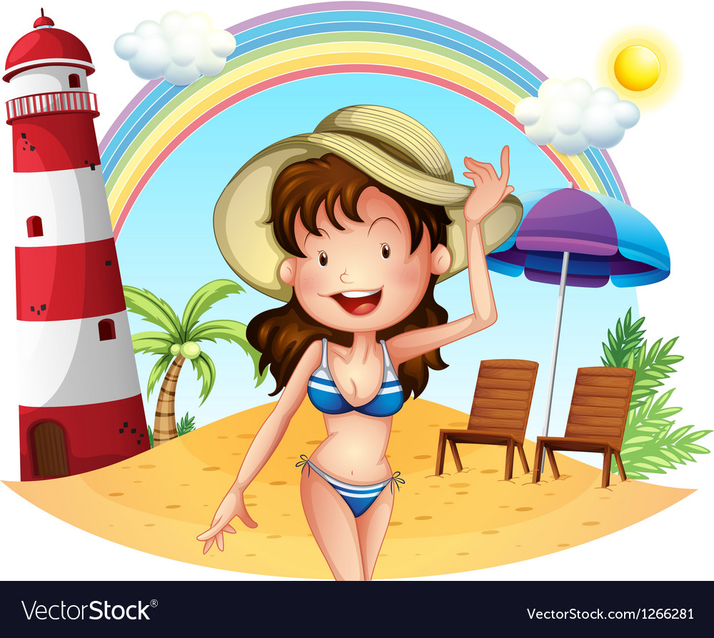 A girl enjoying summer vector | Price: 1 Credit (USD $1)