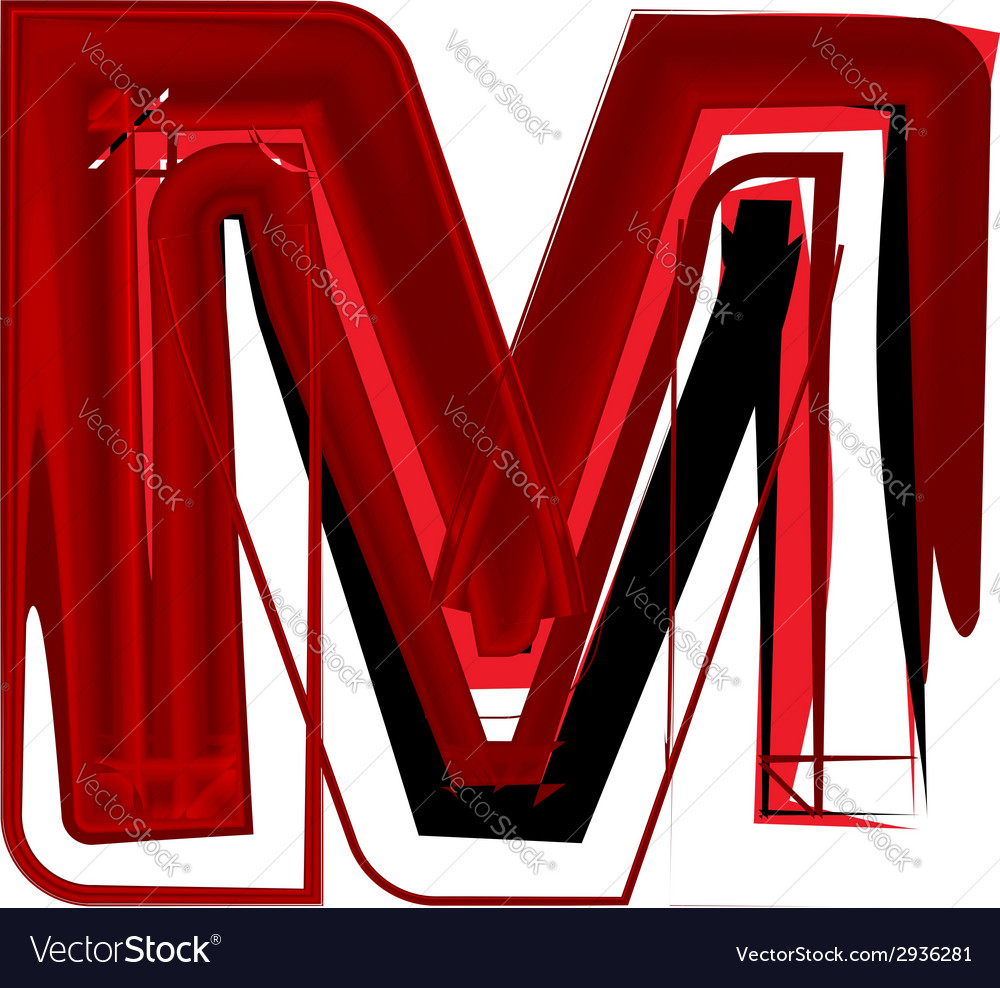 Artistic font letter m vector | Price: 1 Credit (USD $1)