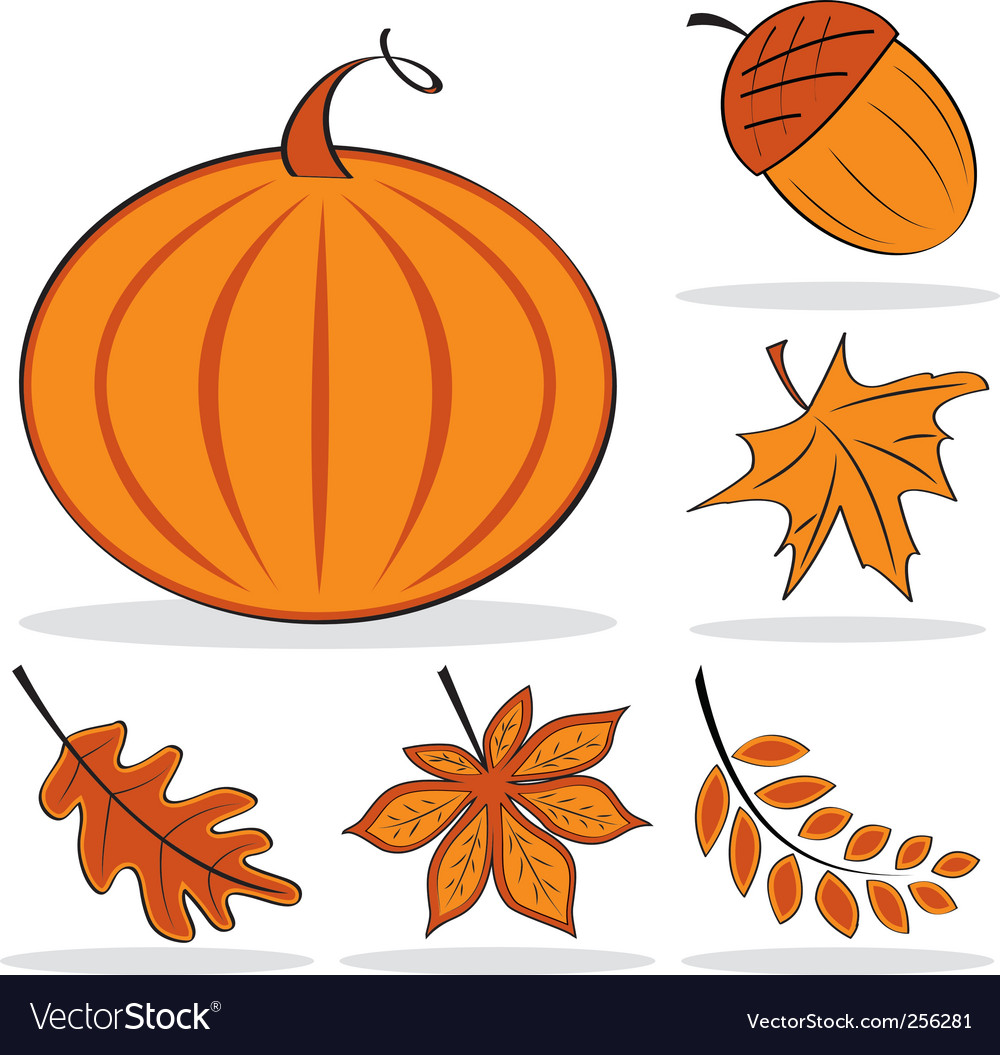 Autumnal icon set vector | Price: 1 Credit (USD $1)